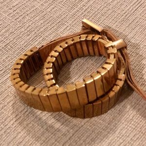 Michael Kors rose gold and leather wrap bracelet